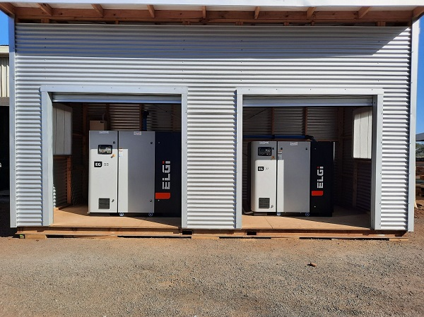 2 elgi compressors in custom built shed designed by Compressed Air Controls